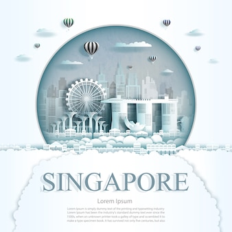 Paper cut singapore monuments with hot air balloons and clouds background template