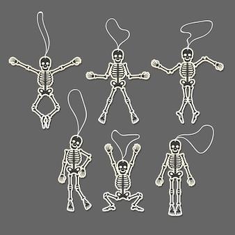 Paper cut skeletons set