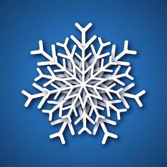 Paper cut snowflake. white snowflake on blue background.vector illustration