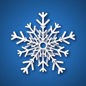 종이 컷 눈송이. 파란색 배경에 하얀 눈송이입니다. 크리스마스와 새 해 장식 요소입니다. 벡터 일러스트 레이 션