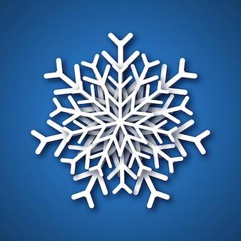 Снежинка вырезанная из бумаги. белая снежинка на синем фоне. векторная иллюстрация