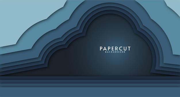 Фон в стиле вырезки из бумаги с синим градиентом