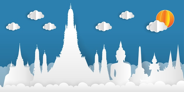 Paper cut style background with thailand landmarks