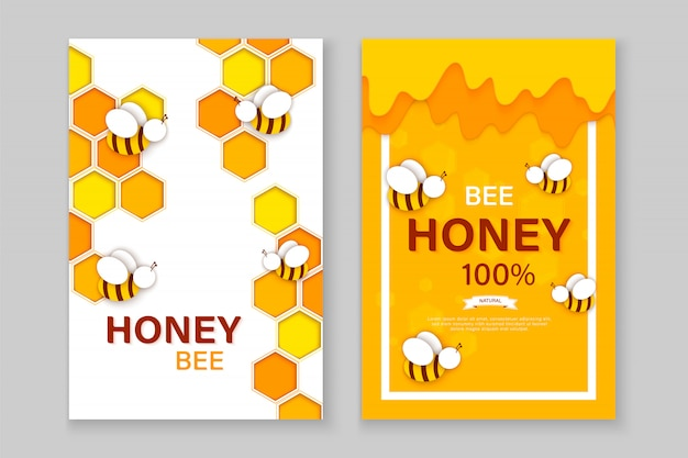 Paper cut style bee with honeycombs. template design for beekeeping and honey product.