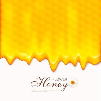 ハニカム付きペーパーカットスタイルの蜂。養蜂と蜂蜜製品のテンプレート。