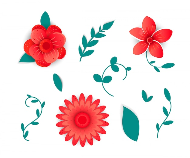 Paper cut style of  bright flower