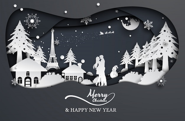Paper cut style couple love and santa claus, christmas, happy new year.