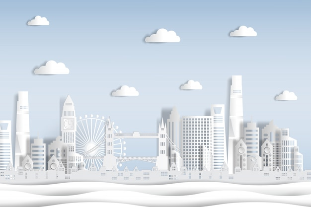 Paper cut style england and city skyline with world famous landmarks of london. Premium Vector