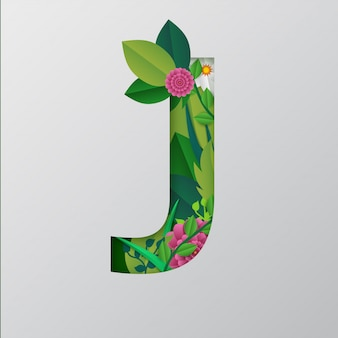 Paper cut style j alphabet with beautiful floral design