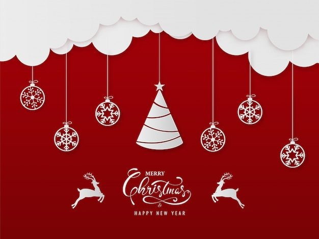 Paper cut style merry christmas & happy new year greeting card