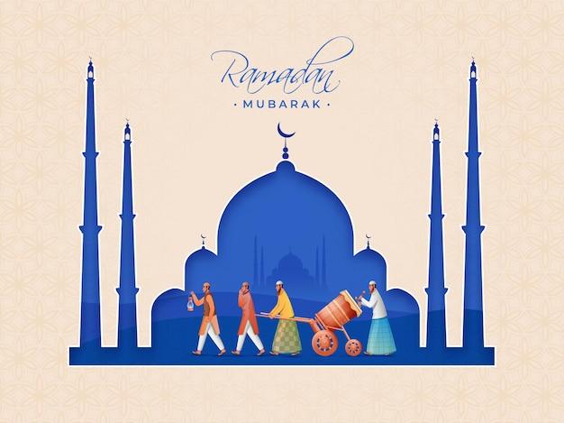 Paper cut style mosque with muslim men beating tabuh bedug (drum) on the occasion of ramadan mubarak.