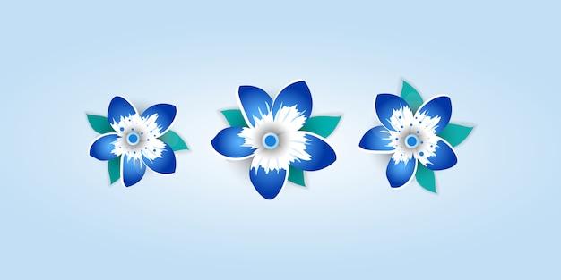 밝은 꽃의 종이 컷 스타일.