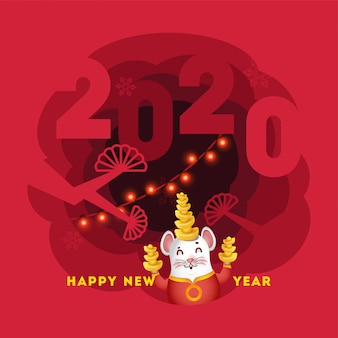 Paper cut style poster or greeting card  with 2020 text, cartoon character rat holding ingot