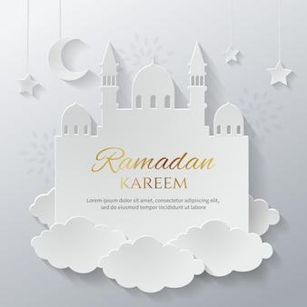 Paper cut style ramadan kareem greeting card template islamic minimalism background