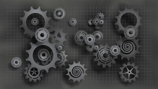 Paper cut style realistic black gears and cogs on gray blueprint