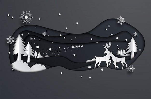Paper cut style reindeer and santa claus, christmas, happy new year.