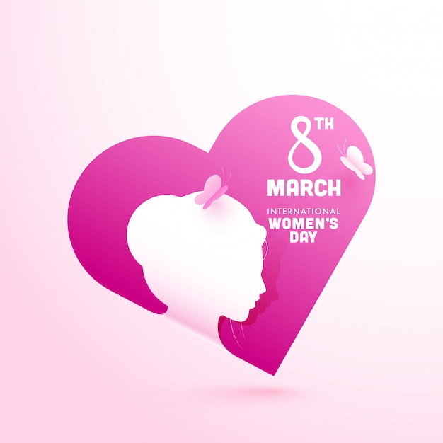 Paper cut style silhouette young girl and butterfly on pink heart shape background