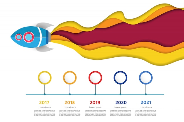Paper cut style spaceship with timeline infographic