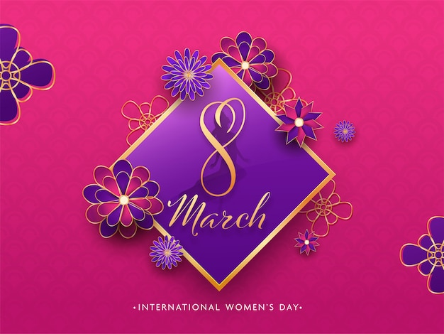 Paper cut style text in rhombus frame decorated with beautiful flowers on pink background for international women's day.