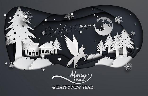Paper cut style unicorn and santa claus, christmas, happy new year.