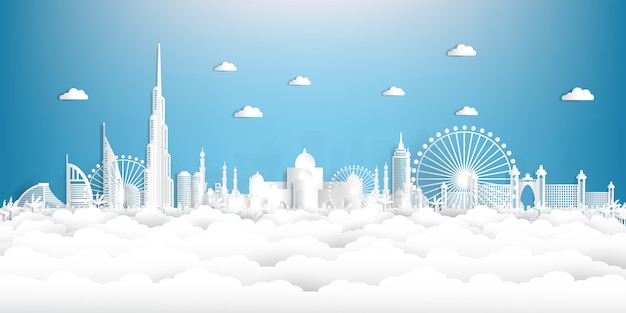 Paper cut style united arab emirates and city skyline with world famous landmarks.