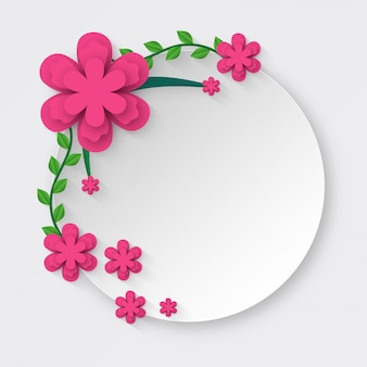 Paper cut style white circle frame decorated