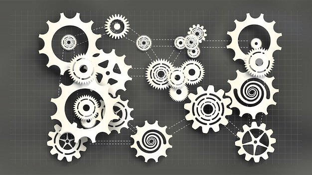 Paper cut style white gears and cogs on gray blueprint chalkboard background.