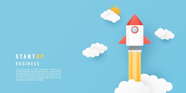 Paper cut style with space rocket and clouds