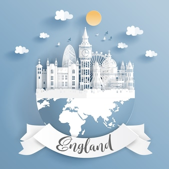 Paper cut style of world famous landmark of london