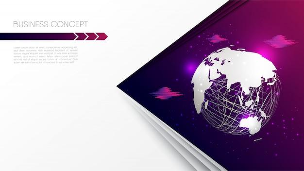 Бумага вырезать стиль мира карта сфера, небо облака, на градиент розовый фиолетовый