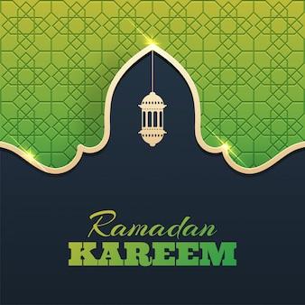 Paper cut stylish ramadan kareem greeting design decorated