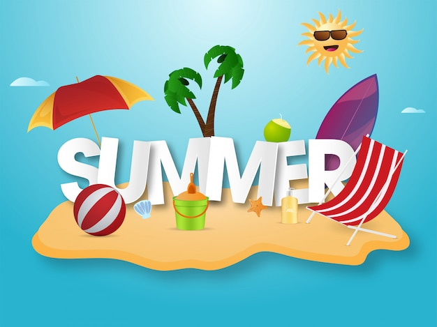 Paper cut summer text with cartoon funny sun and beach elements