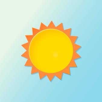 종이 컷 태양 요소, 그라데이션 파란색 배경에 귀여운 날씨 클립 아트 벡터