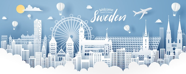 Paper cut of sweden landmark, travel and tourism concept.