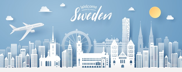 Paper cut of sweden landmark