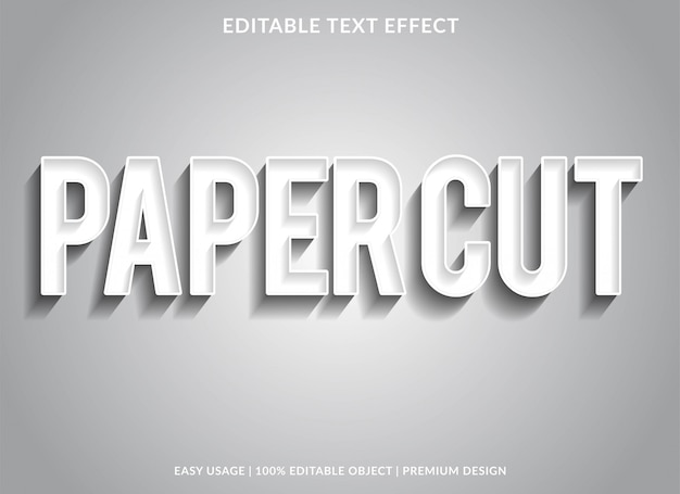 Paper cut text effect template with silver type