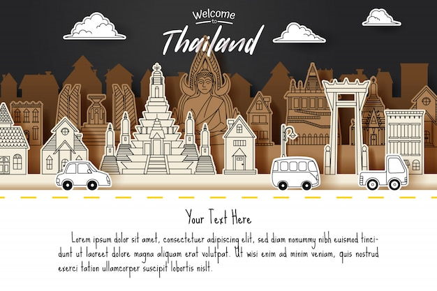 Paper cut of thailand doodle landmark, travel and tourism concept