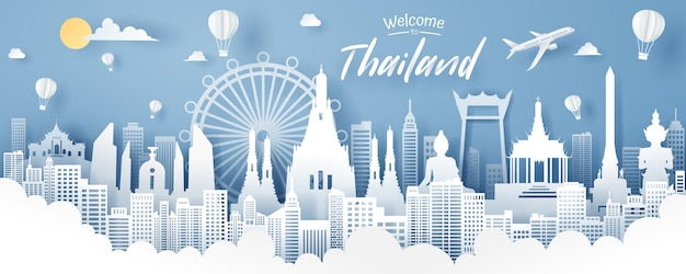 Paper cut of thailand landmark, travel and tourism concept.