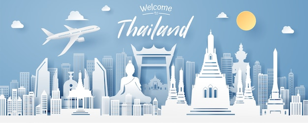 Paper cut of thailand landmark