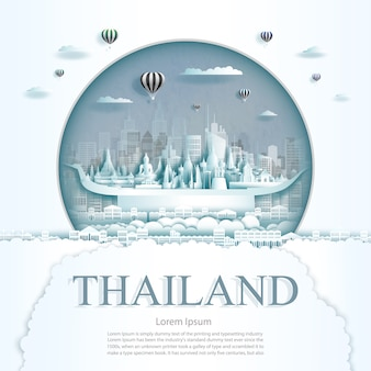 Paper cut thailand monuments with hot air balloons and clouds background template