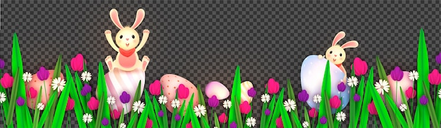 Paper cut tulip flowers decorated with cute bunny