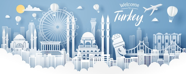 Paper cut of turkey landmark, travel and tourism concept.