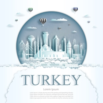Paper cut turkey monuments with hot air balloons and clouds background template