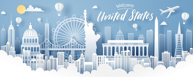 Paper cut of usa landmark, travel and tourism concept.