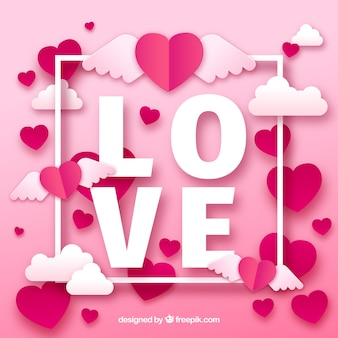 Paper cut valentine's day