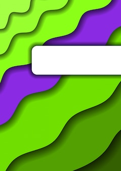 Paper cut vertical banner with green layers and one violet layer
