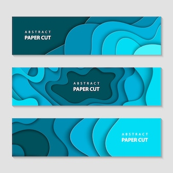Paper cut waves shape abstract template