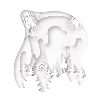 Paper cut of white little cottage and deer in the wild on winter season landscape and merry christmas background.