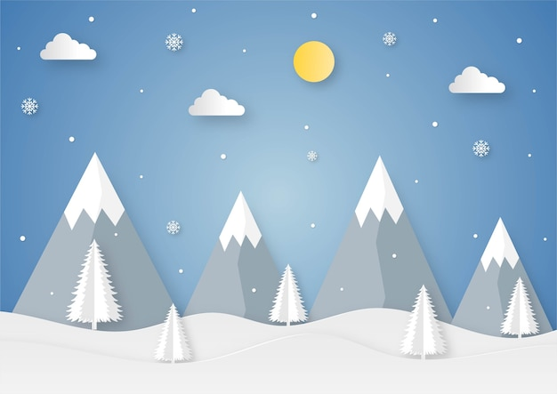 Paper cut winter landscape cartoon on blue background.