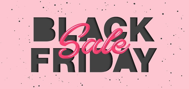 Paper cut with words. black friday sale.